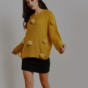 ONLY NWOT Pompom Knit Sweater Mustard Yellow